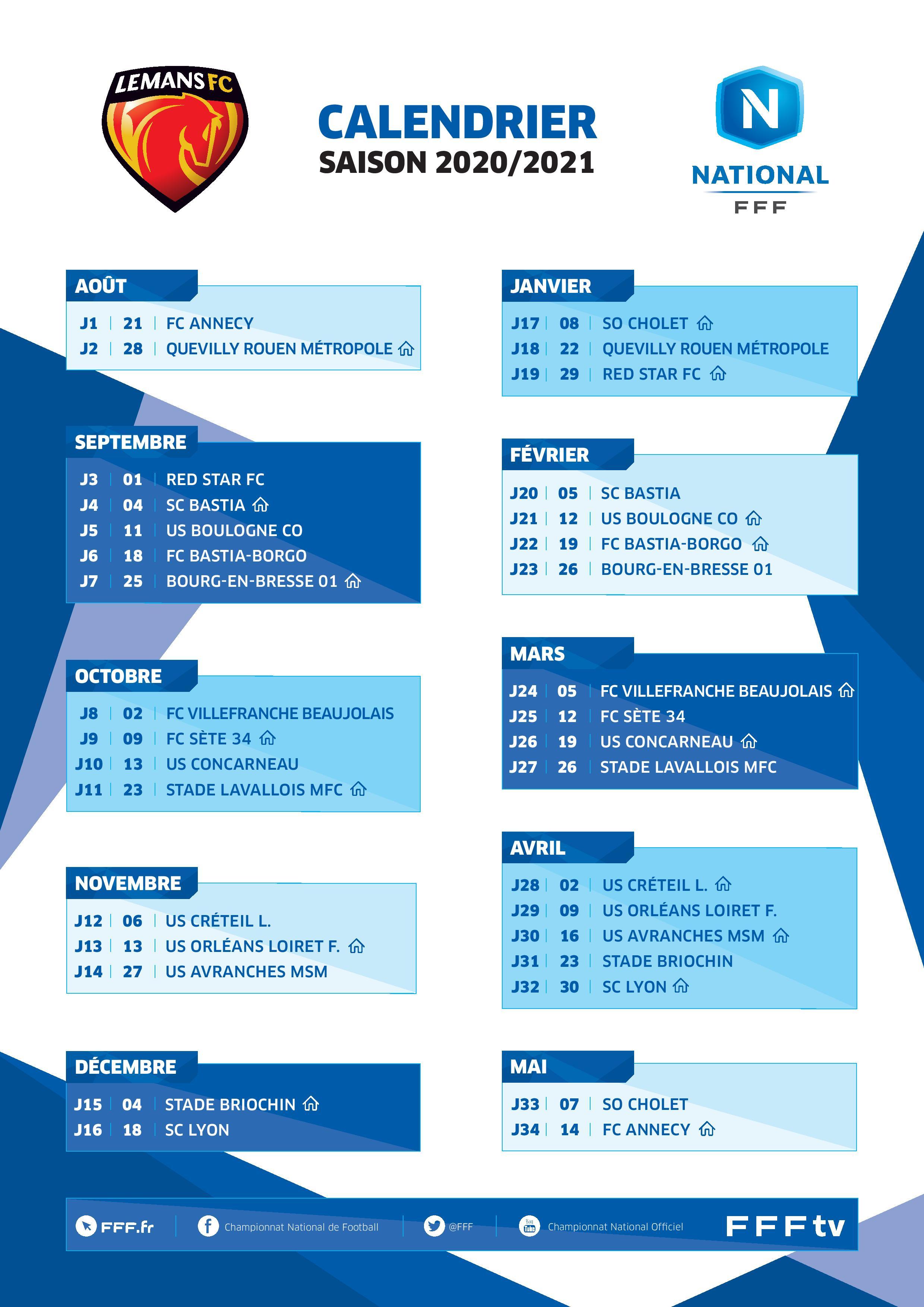 Actualité   Le calendrier du MANS FC est connu !
